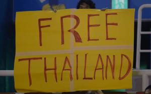 ป้าย FREE THAILAND ที่การแข่งขันเอเชียนเกมส์ 2014